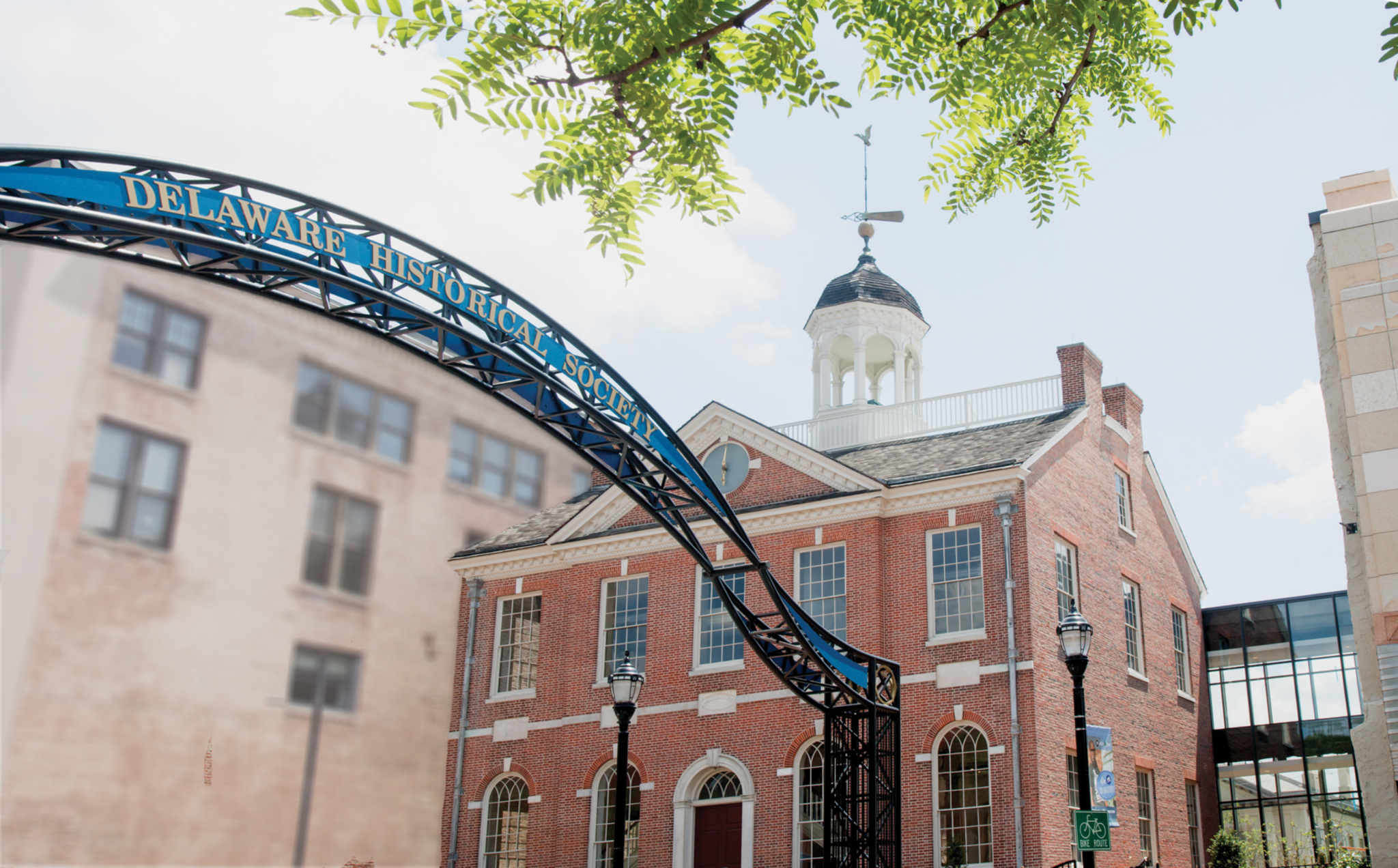 The gold and blue arch in front of Old Town Hall